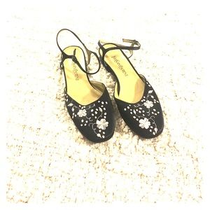 Yves Saint Laurent Shoes - Yves Saint Laurent Embroidered Ankle Strap Flats