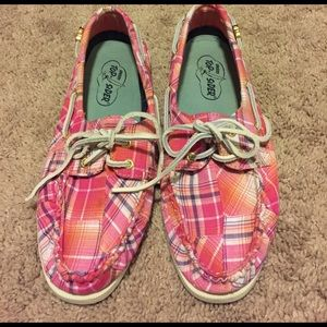 Sperry Shoes - Pink plaid Sperry's, size 8M, new condition 👟🌸