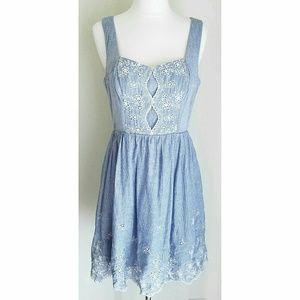Teeze Me Dresses & Skirts - Chambray & White Eyelet Lace Sleeveless Sundress