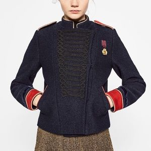 Red & navy blue military wool jacket