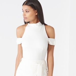 Lavish Alice Tops - White Bardot neckline bodysuit