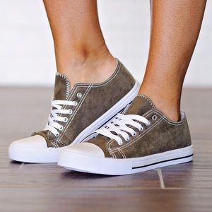 Bchic Shoes - Dark Olive Suede Sneakers