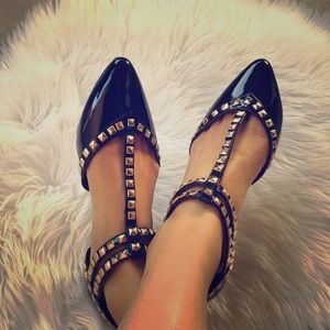 Valentino Shoes - Black studded pointy flats sandals