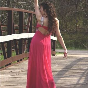 Xscape Dresses & Skirts - GORGEOUS Hot Pink Jeweled Prom Dress