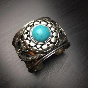 Boho Statement Cuff Bracelet w/ Faux Turquoise