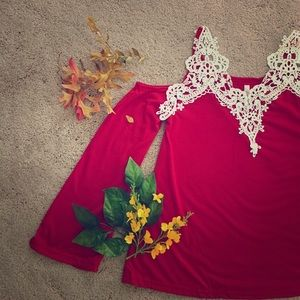 Tops - New! Red cold shoulder lace blouse