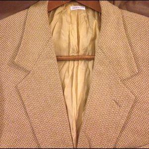 Brioni Other - Brioni Tan Herringbone Cashmere Blazer 42L Long