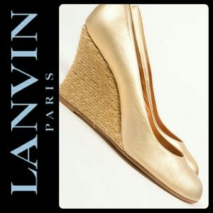 Lanvin Shoes - Lanvin Paris Leather Espadrille Wedges