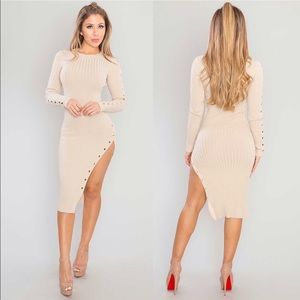 Ribbed gold snap button midi dress