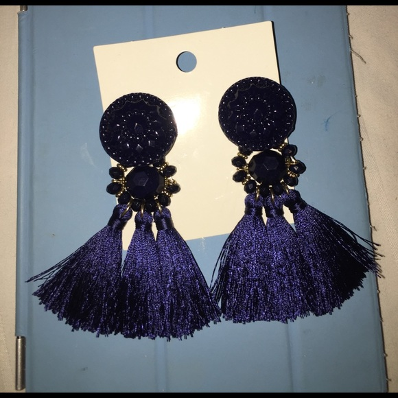 H&M Jewelry - Navy tassel earrings