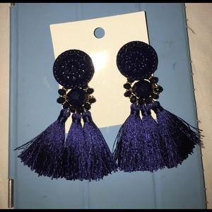 H&M Jewelry - Navy tassel earrings