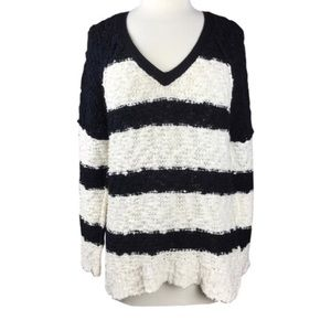 Free People Sweaters - {Free People} chunky knit striped V-neck sweater