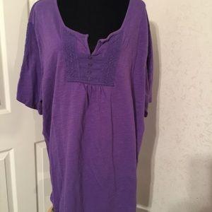 Catherines Tops - Catherine's purple short sleeve tee 3X.