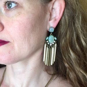 """""""Farrah"""" Turquoise Crystal Statement Earrings"""