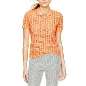 J.Crew Scallop Edge Collar Sheer Eyelet Tee