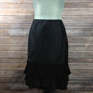 Eileen Fisher Black Side Zip Ruffle Hem Silk Skirt