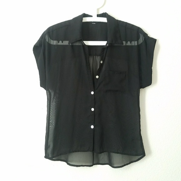 Target Tops Sheer Black Button Up Poshmark