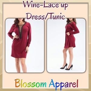 The Blossom Apparel Dresses & Skirts - NWT ⭐️Lace up Dress/Tunic, M, Wine color