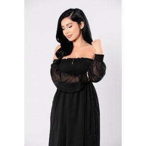 Off the Shoulders Black Dress