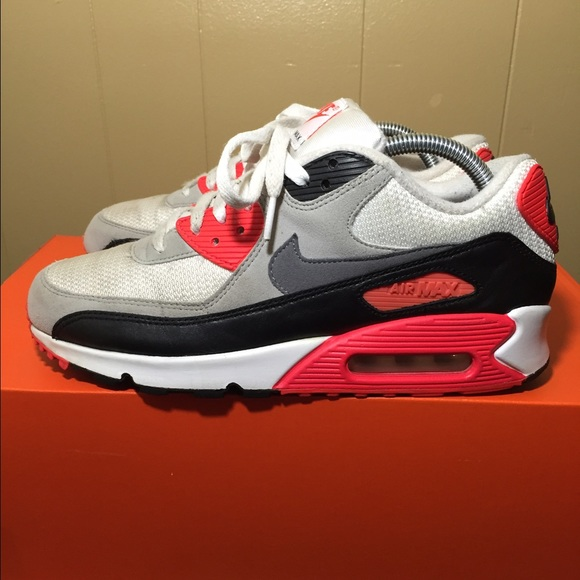 Nike WMNS Air Max 90 OG White Grey Infrared Black 742455 100 Womens Mens Running Shoes 742455 100