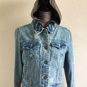 Star Jeans Jackets & Blazers - Star Jeans Distressed Denim Hoodie Jacket
