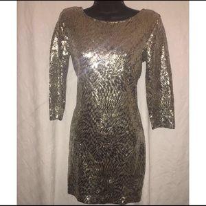 ANGL Dresses & Skirts - 🎉Birthday Dress🎊Angl Sequins Gold Bodycon, Sz M