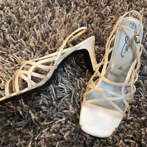 FIONI Clothing Shoes - Fiona Heels Strappy Cream Champagne Dress Shoes 9