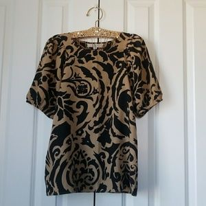 Loft Brown/Black Pattern Short Sleeve Blouse