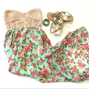High low strapless floral dress