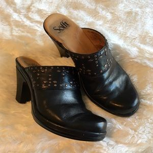 Sofft Shoes - Sofft Black Leather Studded Clogs