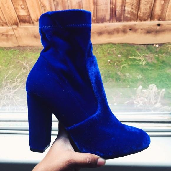 83a7296e556 Yoki Velvet Ankle Sock Booties in Royal Blue NWT