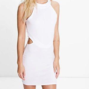 Boohoo Petite Dresses & Skirts - White Cut Out High Neck Bodycon Mini Dress
