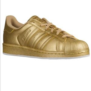 Adidas Shoes - Ladies gold superstar sneakers rare