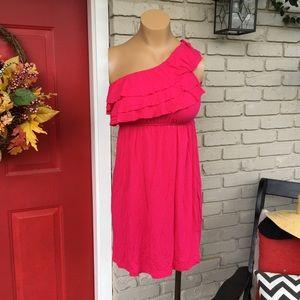 Daytrip Dresses & Skirts - Daytrip hot pink one strap ruffle dress