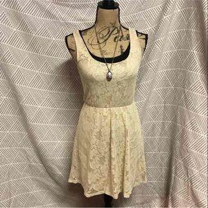 Mimi Chica Dresses & Skirts - Tan lace mini dress size small