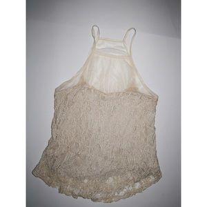 UO High Neck Mesh Lace Top