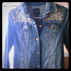 Forever 21 Jackets & Blazers - denim studded spike jacket coat punk large 1990's