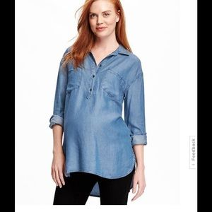 Old Navy Tops - Chambray Maternity denim Old Navy Blouse tunic top