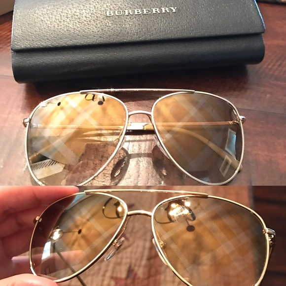 a83c566e6bf8 Burberry Accessories - Burberry bronze gold aviators w  check lenses