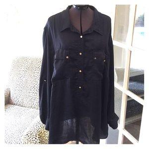 Michael Kors navy blue silk blouse plus size 3x