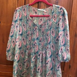 Peacock Feather Print Blouse
