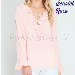 Scarlet Rose Boutique Tops - 🌹Flare Sleeve Ruffle Blouse with Lace Up Front🌹