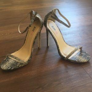 JUSTFAB snake skin print heels