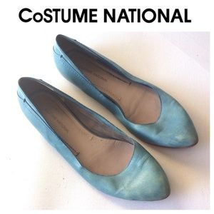 Costume National Shoes - COSTUME NATIONAL blue leather flats shoes 39 1/2