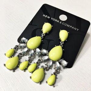 New York & Company Jewelry - NWT NY&Co Neon Yellow Chandelier Earrings