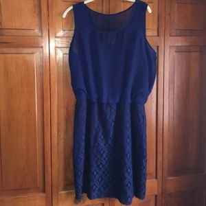 Taylor Dresses & Skirts - Navy Blue Dress with lace bottom chiffon loose top