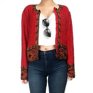 Vintage Jackets & Blazers - Vintage red silk beaded jacket