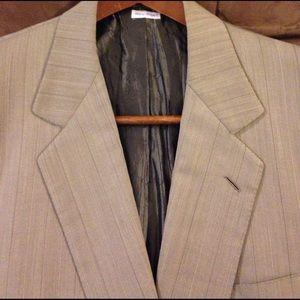 Brioni Other - Brioni Tan Pinstripe Suit Coat Blazer 44L Long