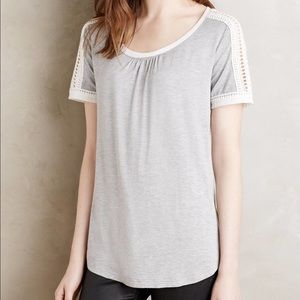 Anthropologie Tops - EUC Anthro tee with lace detail