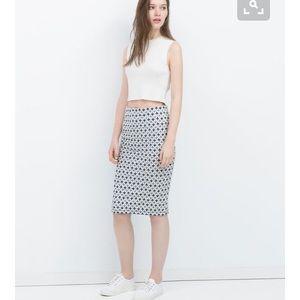 Zara Dresses & Skirts - High waisted midi Zara skirt blue & white